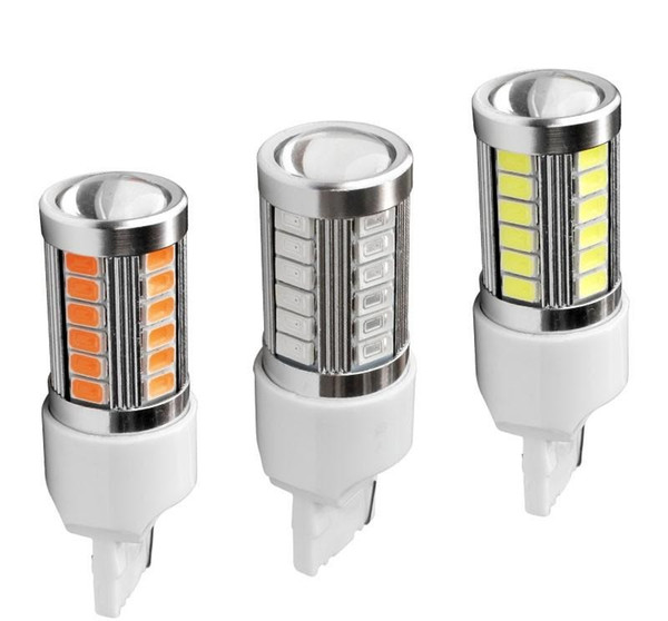 2PCS T20 7440 W21W WY21W 33smd 5730 5630 LED Car Yellow Amber Turn Signal Bulb Red Brake light White Auto Reverse Lamps