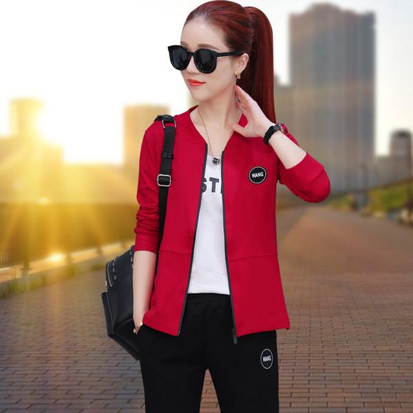 Pop2019 motion anzug frau frühling und sommer muster koreanische version dreiteilige cool time athletic wear anzug-kleid