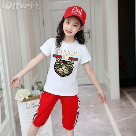 2019 Mode Enfant 1-9 ans t-shirt Enfant à manches courtes T-shirt Garçon Fille Tops Habillement Marques Marques Tees solides Filles Chemises en coton BNVF