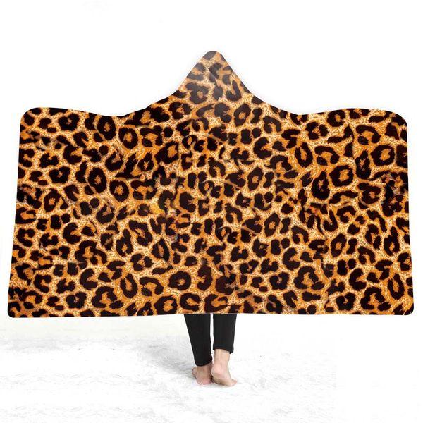 3D spot Hooded Blanket Sherpa Fleece Wearable plush Throw Blanket on Bed Sofa Thick warm B116