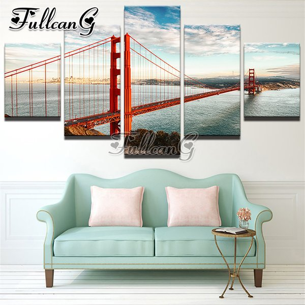 wholesale 5 piece diy diamond painting golden gate bridge full square/round drill 5d mosaic embroidery multi-picture decor FC678