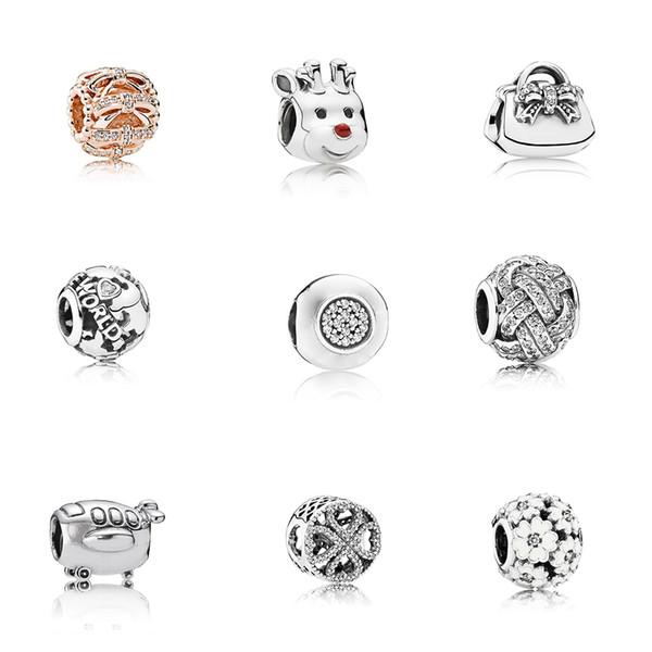 3pandor Pandora 100% S925 стерлингового серебра браслет аксессуары свободные бусины дамы все включено любовь снежинка строка океан сердце 18 моделей.