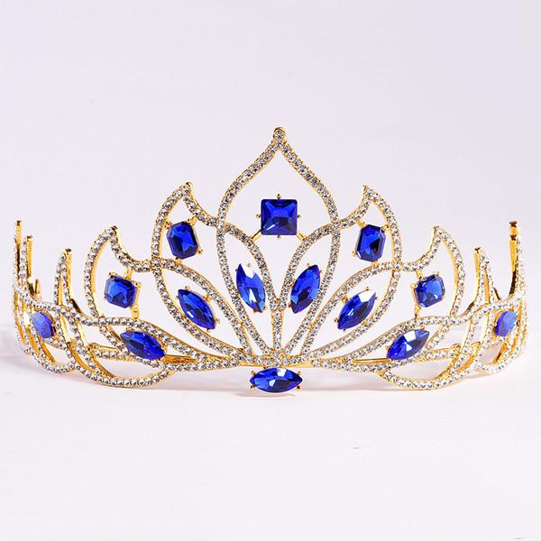 Royal Blue Crystal Rhinestone Wedding Crown Silver Bridal Tiaras and Crown Headdress Hair Accessories For Women Wedding Bridal Headpiece