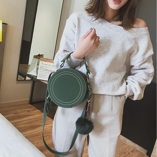 Round Crossbody For Handbags Rivet Pu Leather Messenger Bags Women Purse Circle Cute Star Pendant Girls Shoulder Bag Y190619