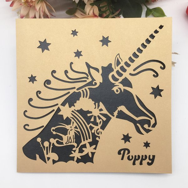 The Unicorn Pattern Hollow Laser Cut Wedding Engagement Cute Invitation Cards Children Theme Party School Activity Supplies Wedding Invitation Quotes