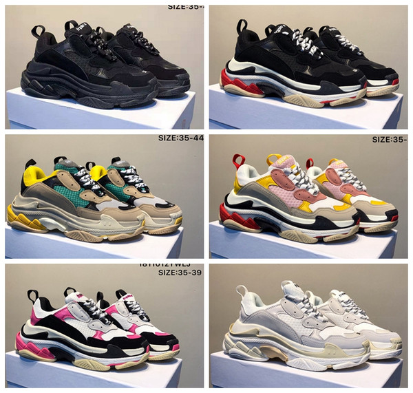 2019 Brand New Fashion Paris Triple-S Designer Chaussures Basse Plate-Forme Baskets Triple S Hommes Femmes designer casual Sport Trainers zapatos 36-45