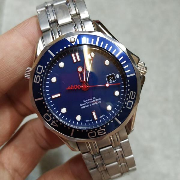 2019 새로운 남성 007 블루 다이얼 자동 기계 다이버 스테인레스 스틸 스트랩 디자이너 마스터 남자는 무료 배송을 볼 시계