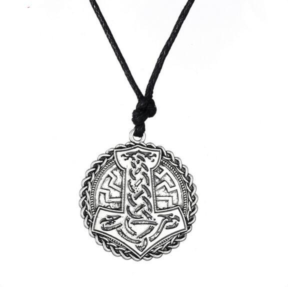 Antique Silver The Hammer of Thor Knot Round Shape Pendant Norse Vikings Amulet Necklace