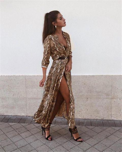 Verão Leopardo Lapela Pescoço Vestido Feminino V Neck Vestidos de Festa Senhoras Ocasionais Vestidos de Moda Designer de Manga Longa Saia Vestidos