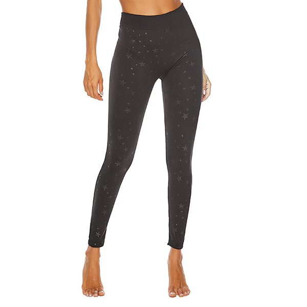 Europe and America New High Waist Sanding Star Printed Leggings Outdoor Sports Yoga Pants