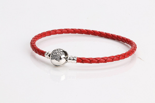 Cinco pontas-Thread Botão Estrela Platinum banhado Handmade cordão de couro DIY Cadeia Base de Pulseira da Mulher Matching Jóias