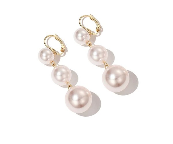 2019 spring and summer new style limited edition white red pearl festive earrings long paragraph female suitable for celebrating holiday