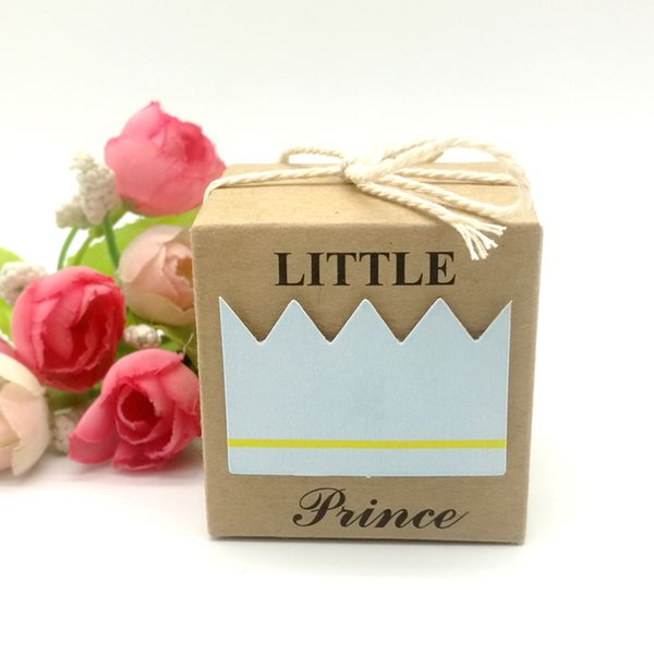 50pcs Kraft Paper Square Little Prince Boy Baby Shower Candy Box Children's Day Birthday Party Favor Box