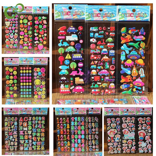 best selling Classic Toys Sticker 10 Sheets lot Various styles of 3D stickers baby DIY birthday gift baby room decoration items LYQ