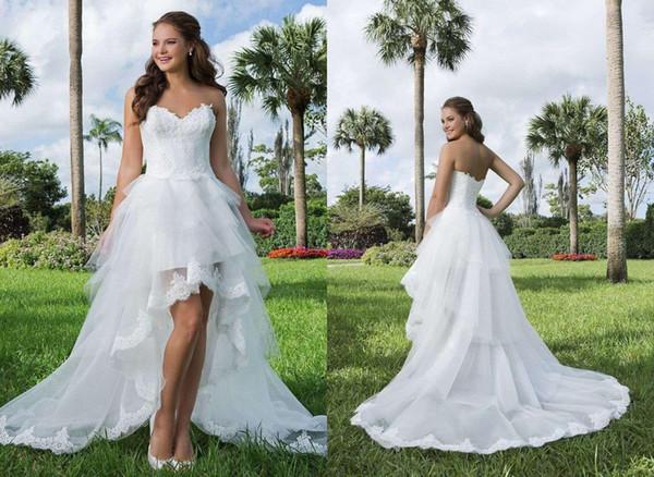 Vestido de novia sin mangas con escote alto y bajo en organza blanco con corpiño plisado Falda con gradas Vestido de novia nupcial de playa Más el tamaño DH4003