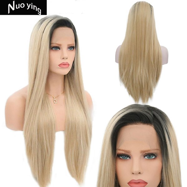 Synthetic Lace Front Wig For Black Women Blonde Lace Front Wig Ombre Long Straight Lace Wig Synthetic Hair Average Cap