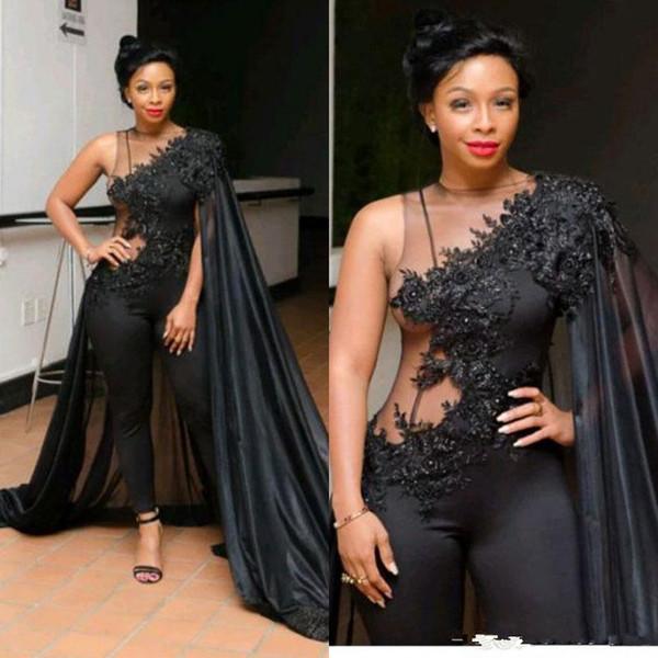 Mode Noir 2019 Combinaisons Robes De Bal Dentelle Paillettes Pantalon Costumes Robes De Soirée Plus La Taille Tenue de Cérémonie Occasion Robe Abendkleider