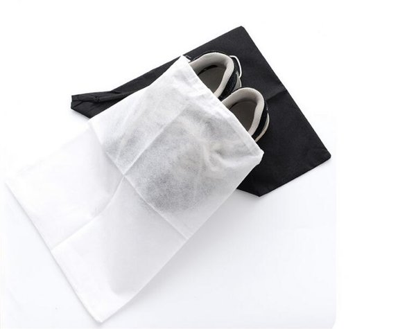 Hot sales Travel Storage Shoe Dust-proof Tote Dust Bag Case black/white Non-Woven Travel Shoe Storage Bag free ship