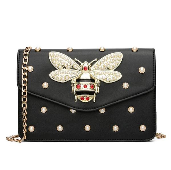 Factory sales brand women handbag sweet lady pearl chain bag exquisite diamond hand bag personality bees lock shoulder bag