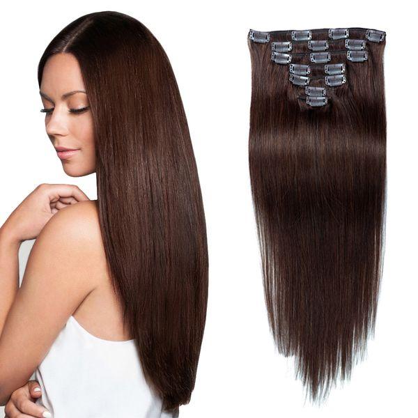 Clip de onda recta en extensiones de cabello humano 100 g / set 7pcs Clip en Remy Cabello humano Marrón oscuro (# 2)