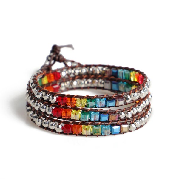 7 Chakra Balancing Leather Wrap Crystal Bracelet with Hematite for Women Collection 12 constellations Bohemia Color weaving charm bracelets