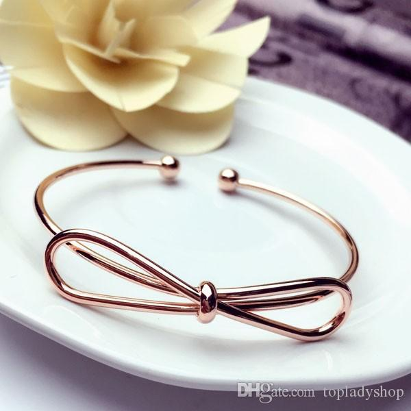 Lindo laço gravata pulseira pulseira abertura pulseira de metal pulseira rosa pulseira de ouro pulseira atacado frete grátis