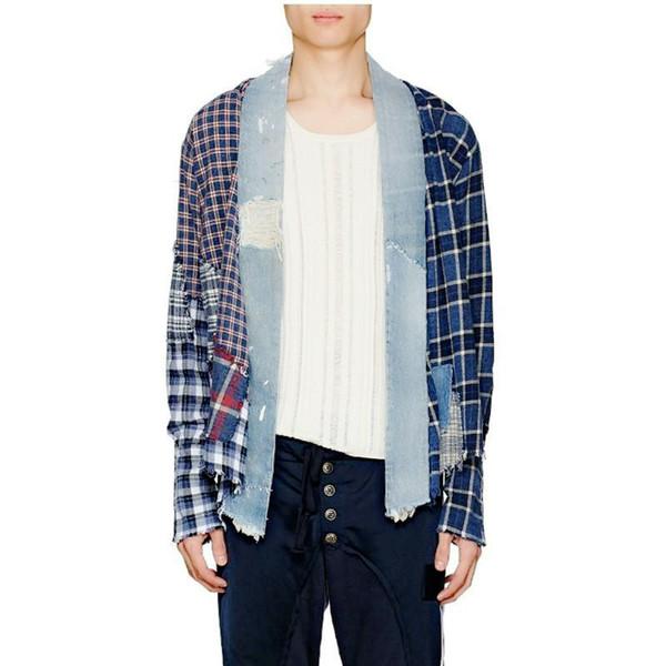 18FW Handvernähens Cardigan Luxuxweinlese-Gitter-Hemd-Jacken-Mann-Frauen-beiläufige Mantel-Herbst-Winter-Straße Shirts Mode