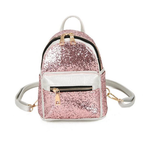 2019 Fashion New Women Backpack Quality Pu Leather Women Backpack Stitching College Wind Shoulder Bag Mini Portable Ladies Bag