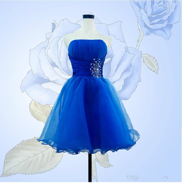 Beaded Strapless Short Tulle Bridesmaid Dress Lace Up Ball Gown Party Dress Knee length Prom Gowns