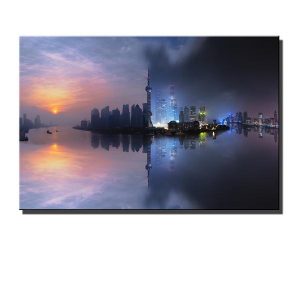 Satın Al Shanghai Gündüz Ve Gece Hd Tuval Baskı Yeni Ev Dekorasyon