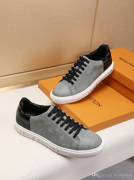Nouvelle liste des chaussures de sport sauvage de la personnalité des hommes, Low Flat Top Mens Casual Shoes Leathe Imprimé hommes occasionnels chaussures de sport 38-46 0014