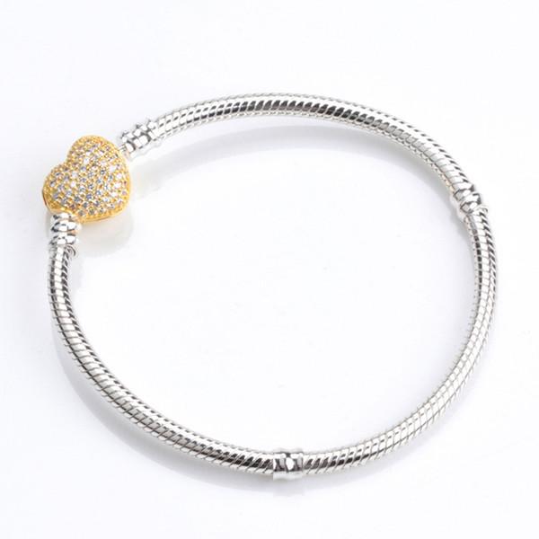 Womens Authentic 14K Yellow Gold plated Heart Bracelets LOGO Original box for Pandora 925 Sterling Silver CZ Diamond Pave Bracelet
