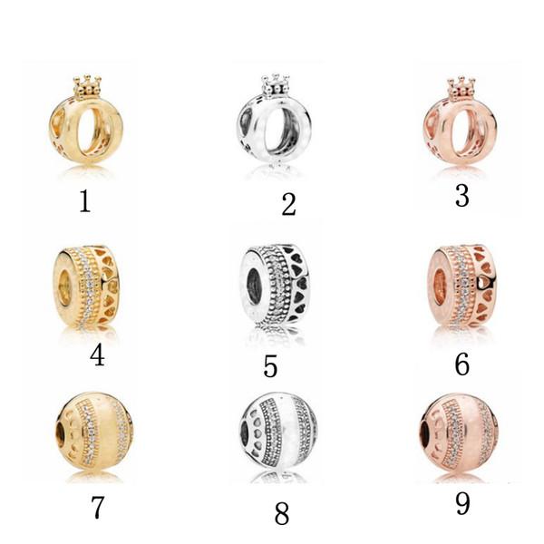 Fit pandora beads charms pulseras de amor para las mujeres de plata de oro Colgante de cuentas corazón femenino europeo pulsera DIY joyería al por mayor