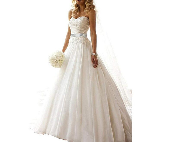 Elegant Women A Line Court Train Appliques Beaded Beach Wedding Dresses Sweetheart Lace Up Back Long Bridal Gown with Sash Belt Custom Made