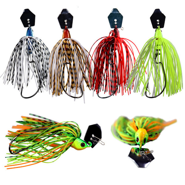 Sports & Entertainment 3pcs lot Fishing bait 10cm 14g 3D Eyes Fishing Jig Bass Lures Rubber Skirt Spinner Buzzbait Lure For Bass