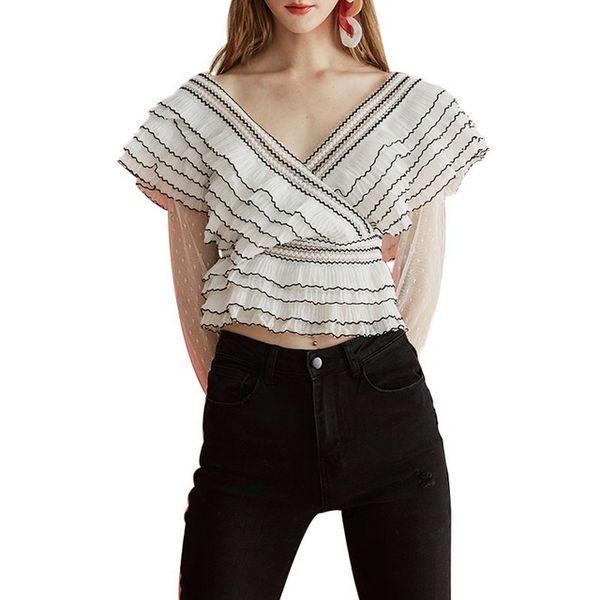 Gestreifte Rüschen Bluse Tops Weibliche V-ausschnitt Polka Dot Mesh Langarm-shirt Frauen Casual 2019 Frühling Sommer Neu
