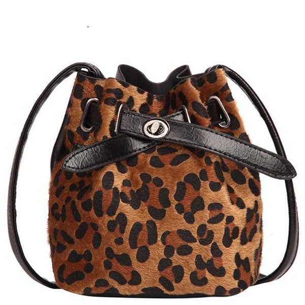 good quality Vintage Fashion Women Plush Leopard Print Shoulder Bag High Quality Velvet Messenger Cross Body Bag Female Bucket Bag