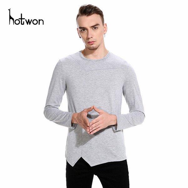 Nova marca de moda Tendência Imprimir Slim Fit manga comprida camiseta Homens T O-Neck Men T-shirt Casual camisas de algodão T Plus Size M-5XL