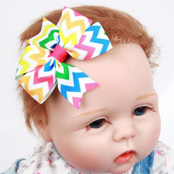 30Pcs 8CM Girls Wave Print Ribbon Bows Hairpin Baby Girls Handmade Boutique Hair Clip Barrettes Hairgrips Beautiful HuiLin DW132
