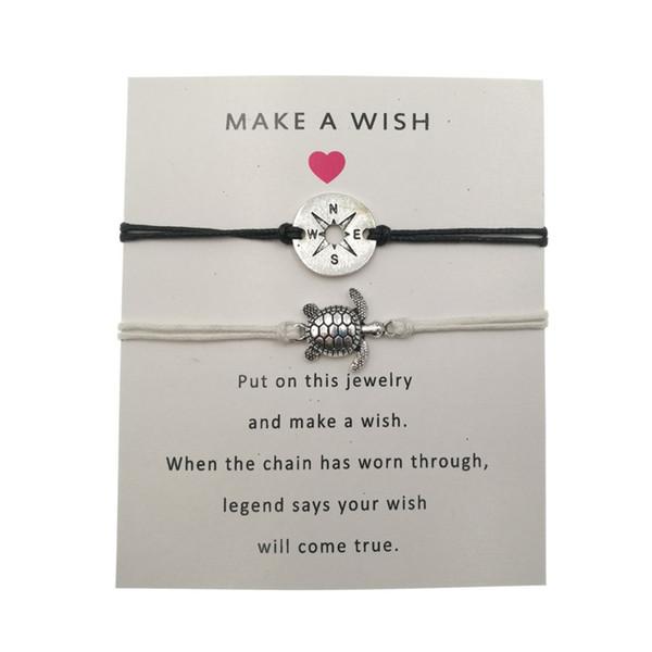 2 Pcs/Set Bohemian Turtle Charm Bracelets For Women Men Antique Silver Hollow Compass Charms Make a Wish Bracelet With Card