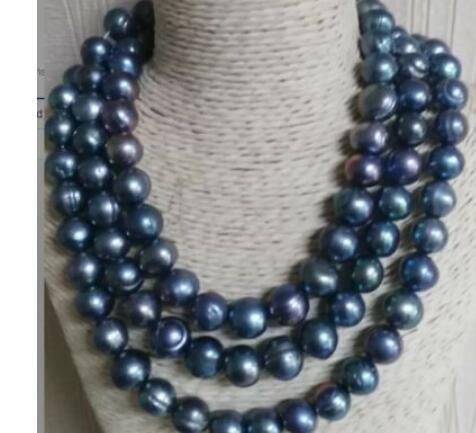 """baroque 50"""" 14-13 MM SOUTH SEA Black blue PEARL NECKLACE 925silver GOLD CLASP"""