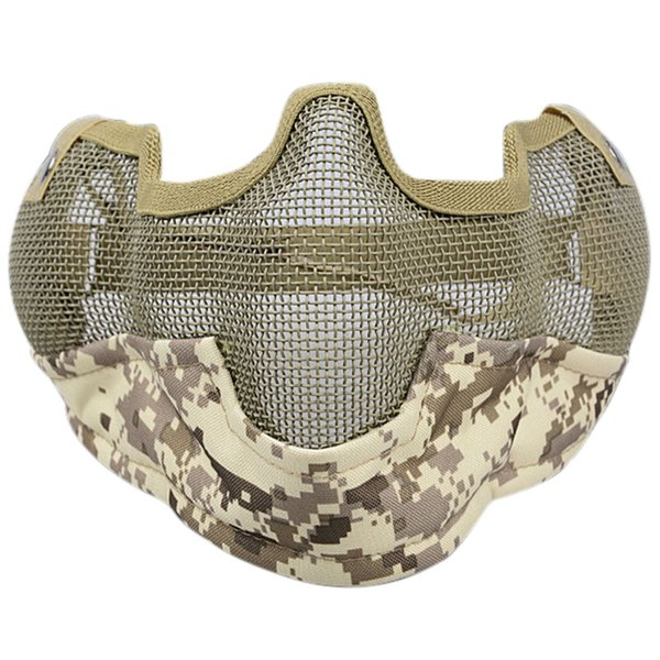 Máscara de casco Half Face Guardian Metal Steel Net Mesh Camouflage Mask