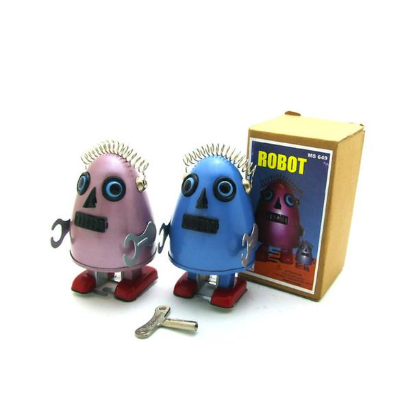[ARRIBA] Colección para adultos Retro Wind up toy Metal Tin space egg alien Robots en forma de huevo Mecánico Mecanismo de juguete figura para niños regalo