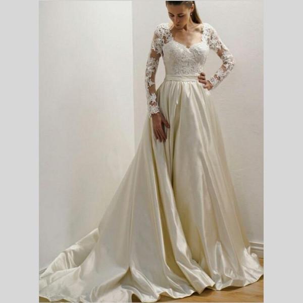 Ivory Satin Wedding Dresses Scoop Lace Long Sleeves Lace Appliques robe de mariée Sexy Back Sweep Train Plus Size Wedding Dresses