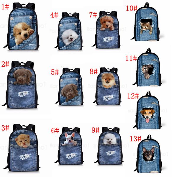 13 Stilleri Cep pet 3D denim sırt çantası Kedi köpek hayvanlar baskılı sırt çantası okul çantası öğrenci genç Depolama Organizatör omuz çantaları FFA2816-1