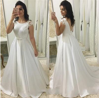 Sexy Open Back Cap Short Sleeve Prom Dresses 2019 Long Elegant White A Line Formal Party Dress With Belt Vestidos De Gala