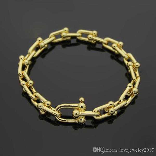 316L Edelstahl 18K Gold U Kette Armband Rose Gold Silber T Brief Paar Armbänder für Frauen und Männer Mode Jewwelry berühmte Marke