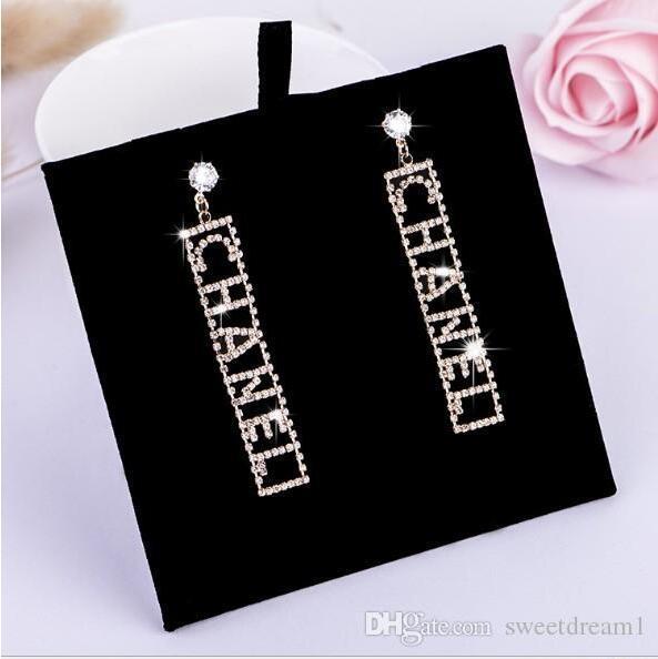 Brand New Design Famoso Carta Brinco de Diamante Bling Bling Brincos Charme 925 Brincos de Prata Esterlina Para Mulher Vestido de Noiva Jóias