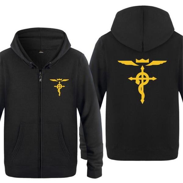 Mens Hoodie Anime Fullmetal Alchemist Hoodies Men Fleece Long Sleeve Zipper Jacket Coat Sweatshirt Hip Hop Skate Tracksuit