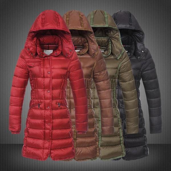Winter jacket women Slim long coat ruched Hat detachable Wind high collar women down jacket coat parka Red Brown Black plus size